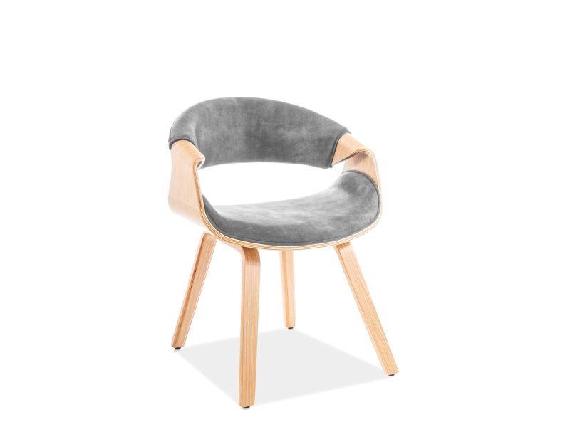 Signal Meble Dakota Velvet Chair Grey/Oak