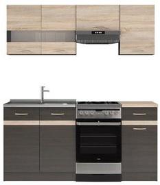 Virtuvės baldų komplektas Black Red White Junona Wenge/Sonoma Oak, 1.7 m