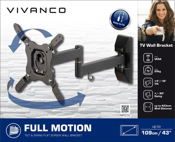 Vivanco TV Wall Bracket Full Motion Up To 43'' Black