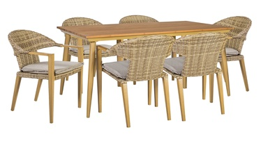 Home4you Greenwood Table And 6 Chairs Set Caramel