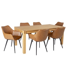 Home4you Chicago New/Naomi Dining Set 6 Chairs Oak/Brown