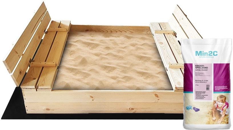 Smilšu kaste 4IQ Wooden Sandbox, 140x140 cm