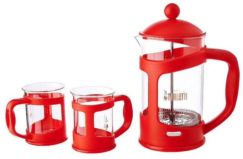 Bialetti Set Coffee Press and Mugs Red