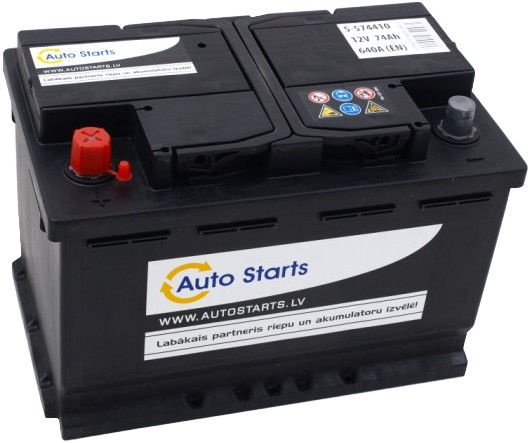 Аккумулятор Auto Starts, 12 В, 74 Ач, 640 а