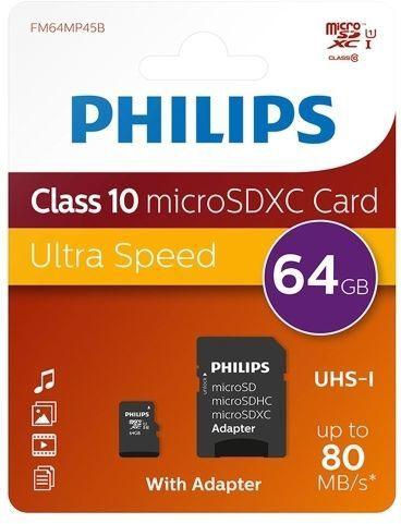Philips 64GB microSDXC UHS-I Class 10 + Adapter