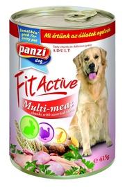 Konservi pieaugušiem suņiem Panzi Fit Active Multi-meat, ar gaļas izlasi, 415 g