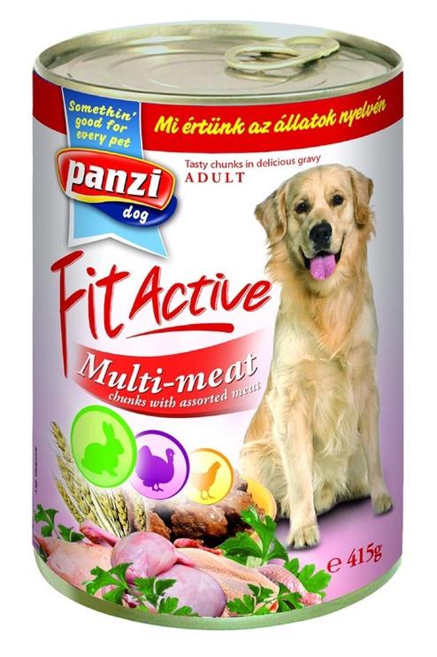 Влажный корм для собак (консервы) Panzi FitActive Adult Multi-Meat Chunks 415g