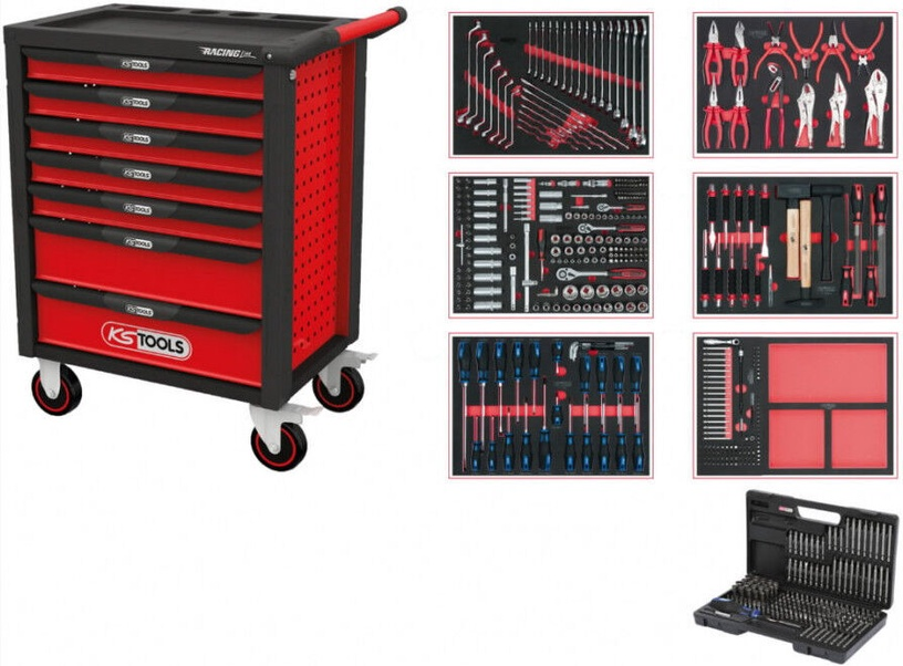 KS Tools 826.7598 RacingLine Tool Workshop with 598 Tools Red