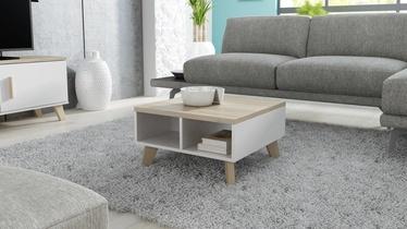 Kafijas galdiņš Cama Meble Lotta 60, balta/ozola, 600x600x350 mm