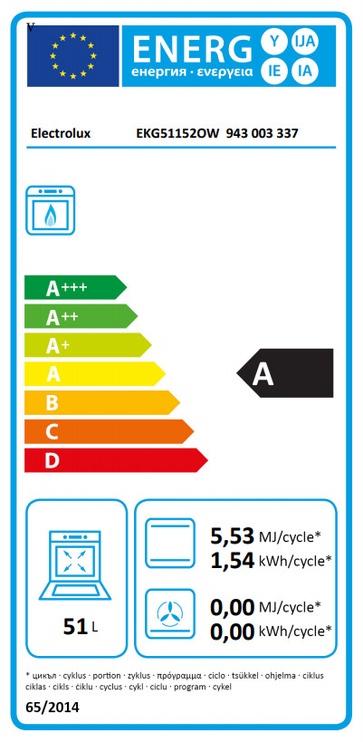 Gaasipliit Electrolux EKG51152OW