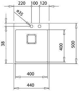 Valamu Teka Forlinea RS15 400.400, 440 mm x 500 mm