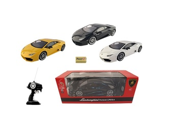 Žaislinė mašina Lamborghini Huracan, geltona, balta, juoda