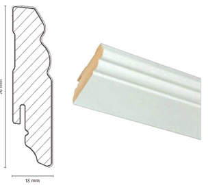 Põrandaliist FOF A015, 2,4x0,018x0,07 m, valge