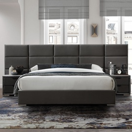Home4you Levanter Bed 160x200 Grey Velvet