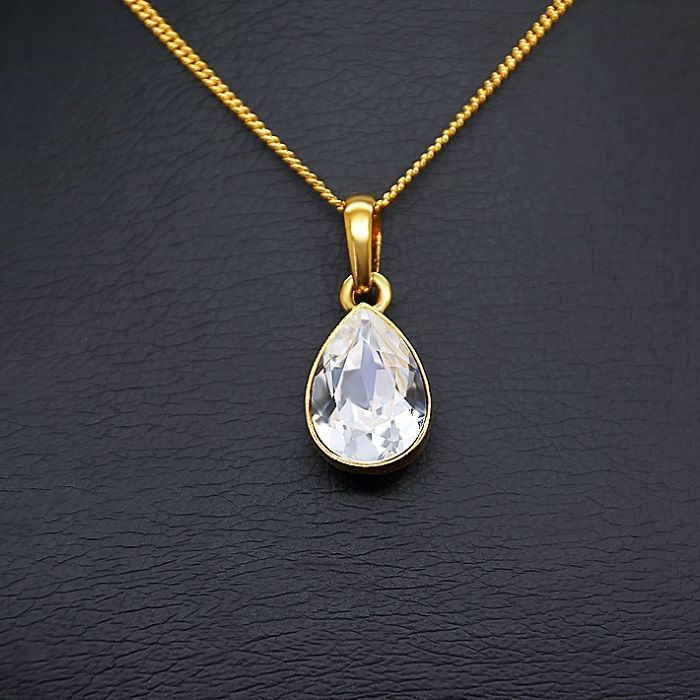 Diamond Sky Pendant Gold Crystal Drop With Swarovski Crystals