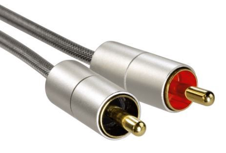 Hama AluLine Cable RCA x2 to 3.5mm Silver 1m