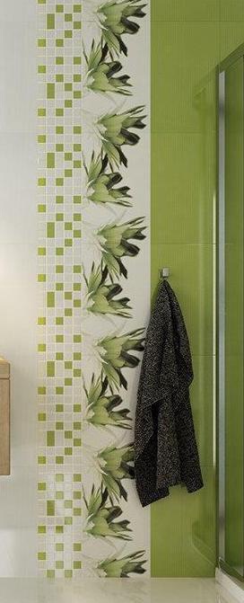 Keraminės dekoruotos sienų plytelės-mozaikos Verno White-Green, 25 x 25 cm