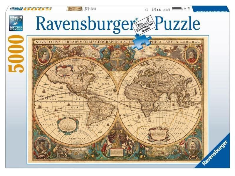 The Picture Of The World Map.Dėlionė Ravensburger Puzzle Antique World Map 5000pcs