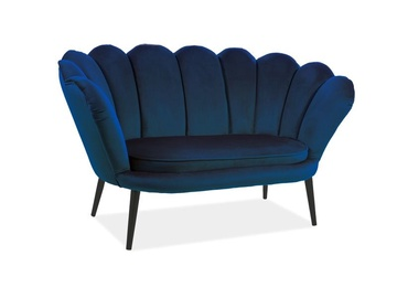 Dīvāns Signal Meble Magnolia 2 Velvet Sofa Navy Blue/Wenge, 85 x 152 x 87 cm