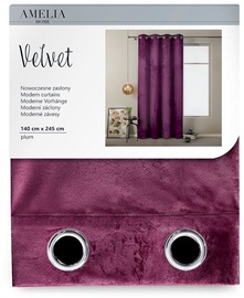 AmeliaHome Velvet Curtains Plum 140x245cm