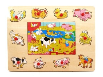 Brimarex Wooden Puzzle Farm Animals 16pcs 3279