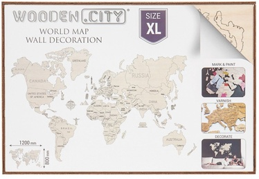 Wooden City Puzzle World Map XL Natural 48pcs