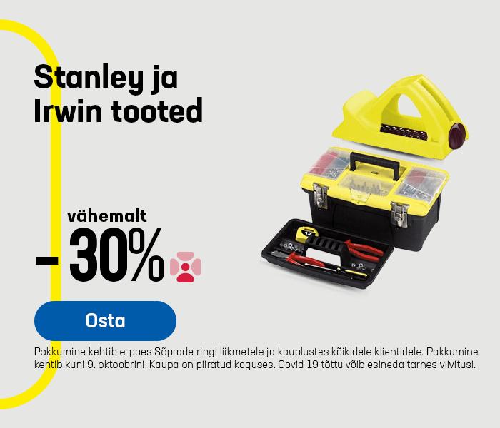 Stanley ja Irwin tooted vähemalt -30%