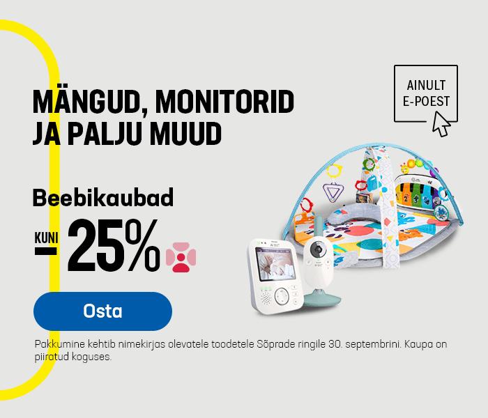 Mängud, monitorid ja palju muud! Beebikaubad kuni -25%