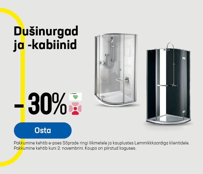 Dušinurgad ja -kabiinid -30%
