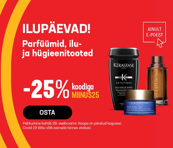 Ilupäevad! Parfüümid, ilu- ja hügieenitooted -25% koodiga MIINUS25