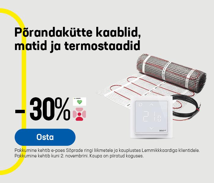 Põrandakütte kaablid, matid ja termostaadid -30%