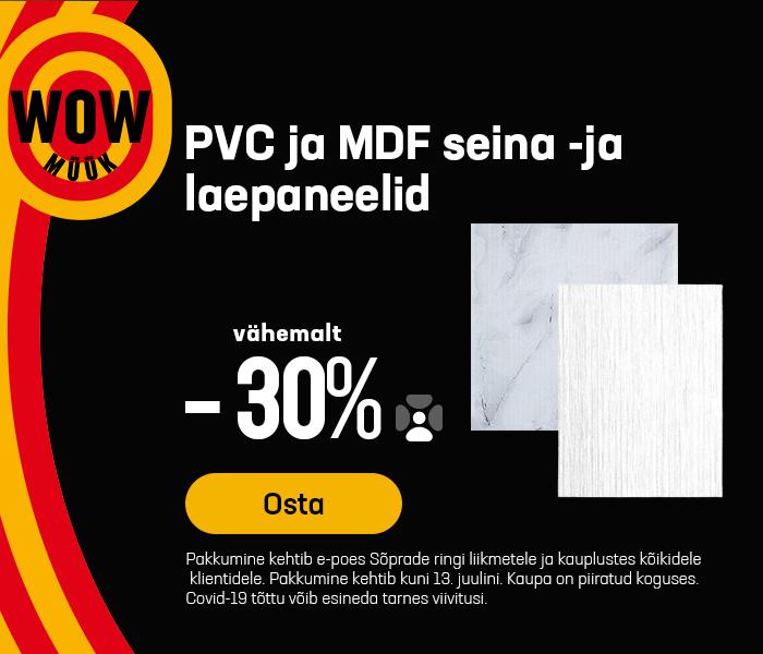 PVC ja MDF seina -ja laepaneelid vähemalt -30%