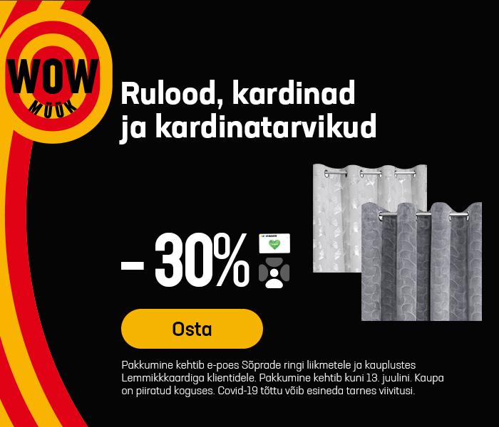 Rulood, kardinad ja kardinatarvikud -30%