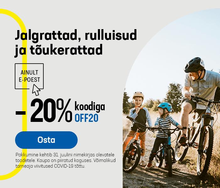 Jalgrattad, rulluisud ja tõukerattad -20% koodiga OFF20