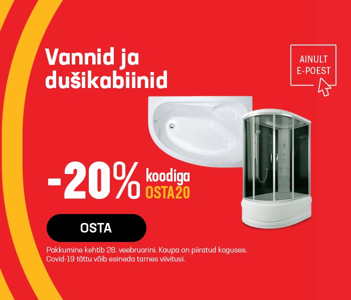 Vannid ja dušikabiinid -20% koodiga OSTA20