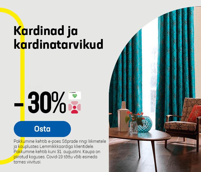 Kardinad ja kardinatarvikud -30%