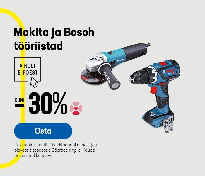 Makita ja Bosch tööriistad kuni -30%