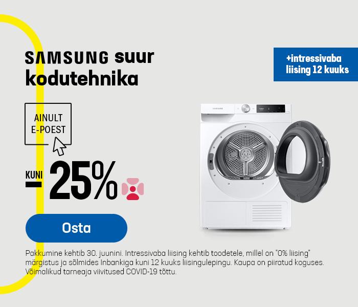 Samsung suur kodutehnika kuni -25% + intressivaba liising 12 kuuks