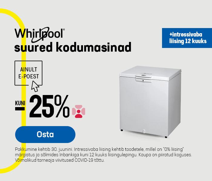 Whirlpool suured kodumasinad kuni -25% + intressivaba liising 12 kuuks