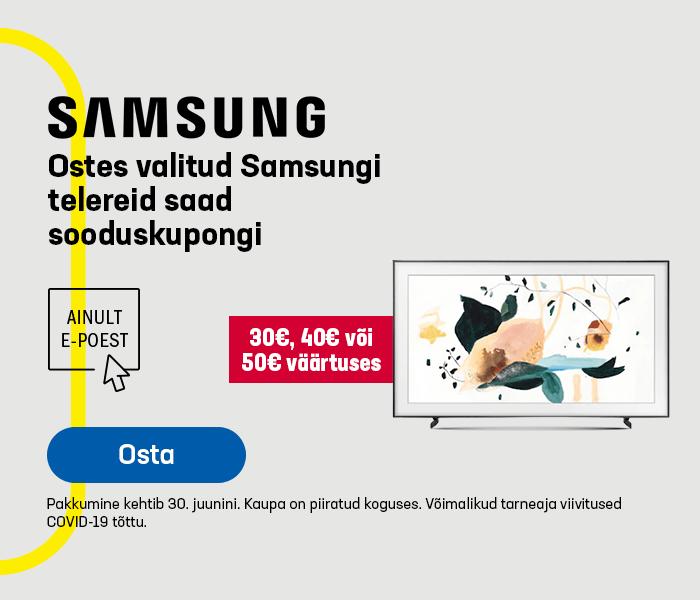 Ostes valitud Samsungi telereid saad 30€, 40€ või 50€ soodustust järgmiseks ostuks