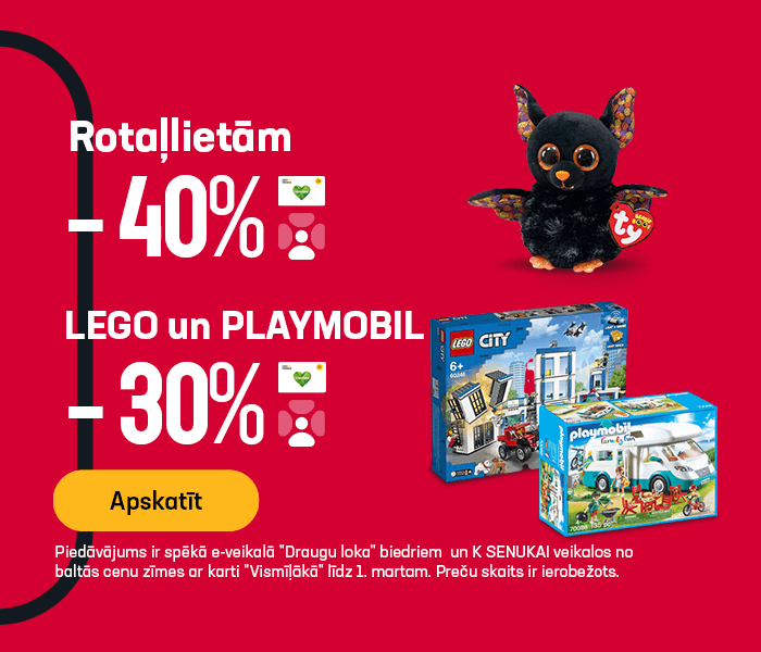 Rotaļlietām -40%, bet Lego/Playmobil -30%
