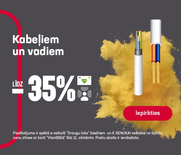 Kabeļiem un vadiem līdz -35%