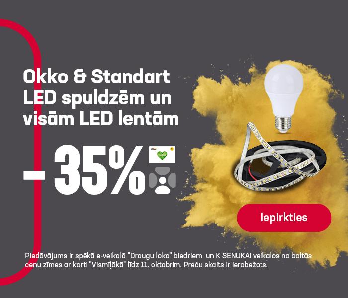 Okko & Standart LED spuldzēm un visām LED lentām -35%