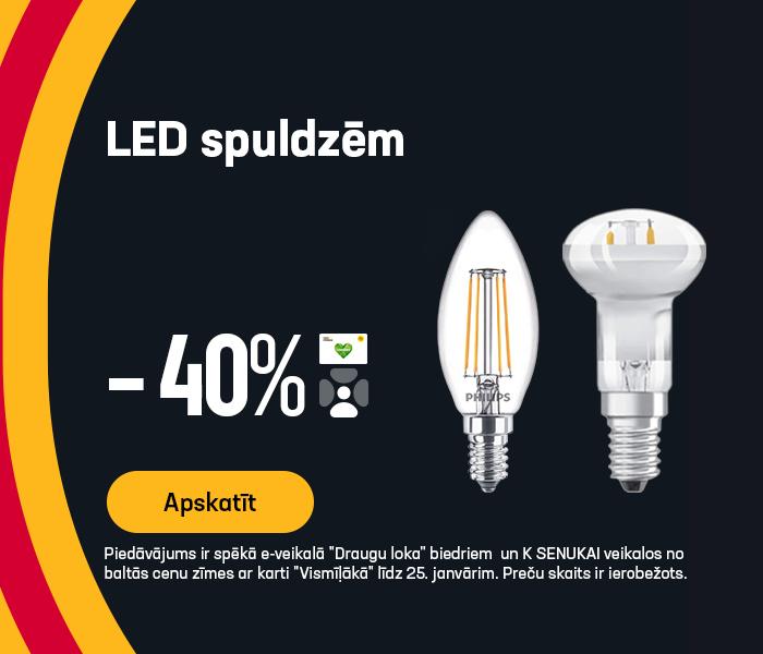LED spuldzēm -40% (philips, osram, trio, standart)