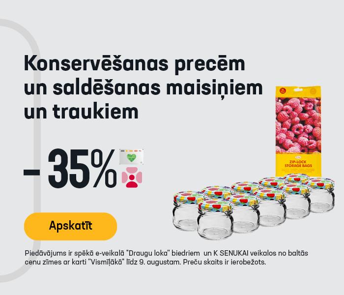 Konservēšanas precēm un saldēšanas maisiņiem un traukiem -35%