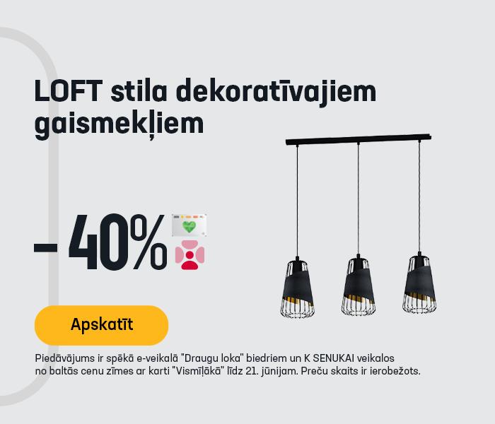 LOFT stila dekoratīvajiem gaismekļiem -40%