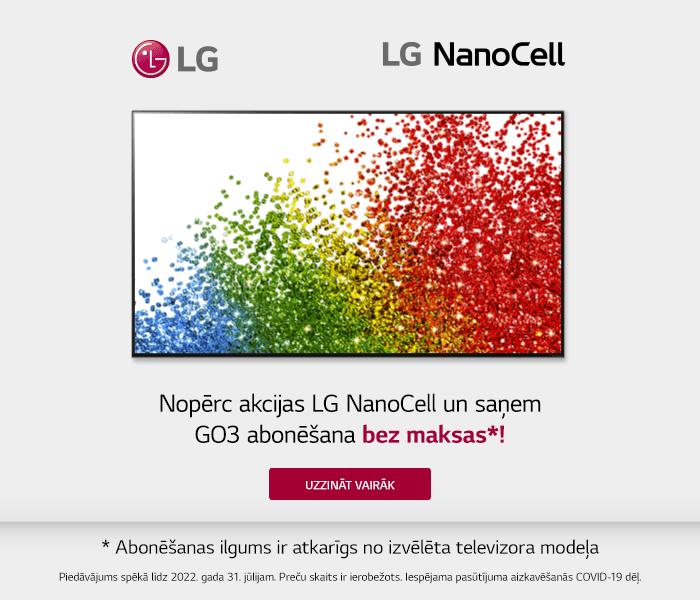 Nopērc akcijas LG NanoCell un saņem GO3 abonēšanu bez maksas* (abonēšanas ilgums ir atkarīgs no izvēlēta televizora modeļa)