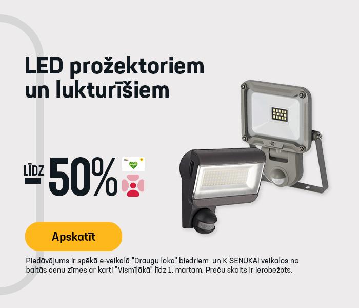 LED prožektoriem un lukturīšiem līdz -50% (SPECTRUM, ARCAS, GP, CAT, BRENNENSTUHL)