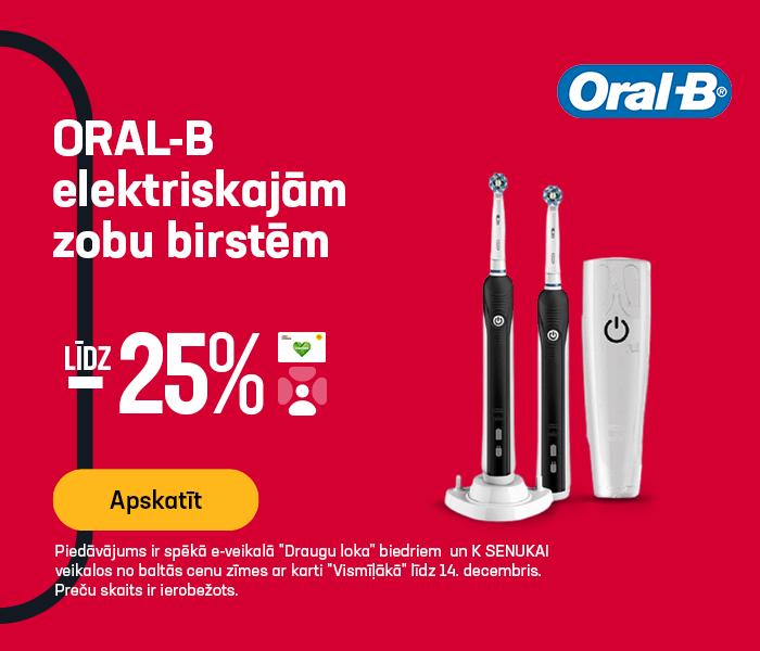 ORAL-B elektriskajām zobu birstēm līdz -25%