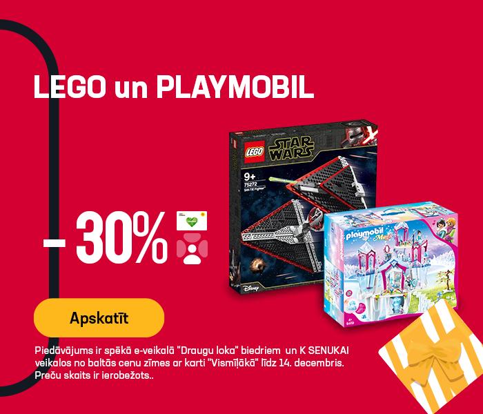 LEGO un PLAYMOBIL -30% atlaide